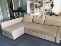 Ikea Beige FRIHETEN corner sofabed