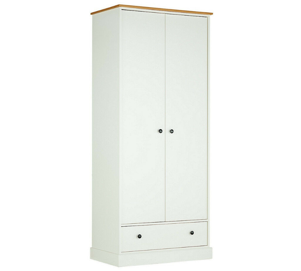 "Collection Kensington 2 Dr 1 Drw Wardrobe Oak Effect Whitein Aston, West MidlandsGumtree - call or message me for more info. Item is packed. ""Size H199, W86, D50cm. 53kg. 1 hanging rail. 1 shelf. 1 drawer with metal runners. Metal handles."" can deliver any day for £15"