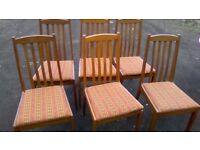 Set of six matching upholstered dining chairs