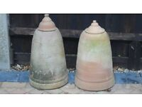 2 Traditional Rhubarb Forcer terracotta clay pots 55-58cm high x 32cm diameter at base.
