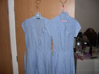 2 x light blue chequered school dresses