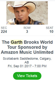1 ticket- Garth Brooks in Calgary- Friday, Sep 2
