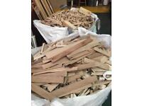 Ton bags of hardwood waste