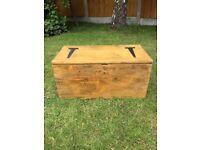 antique waxed pine storage box