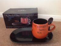 Mug with spoon and plate set