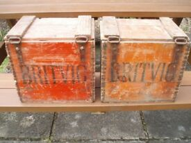 BRITVIC WOODEN CRATES with lids x 2 , VINTAGE ORIGINALS, COLLECTORS ITEMS