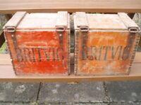 BRITVIC WOODEN CRATES with lids x 2 , VINTAGE ORIGINALS, COLLECTORS ITEMS