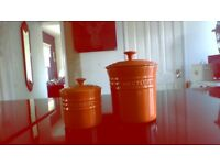 Lecrueset orange storage jars