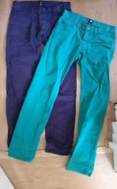 H&M jeans 30x30 green and purple