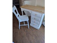 Shabby chic dressing table and chair painted in white chalk paint and lightly distressed and waxed