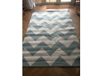 Large rug / carpet pale blue and cream chevron pattern