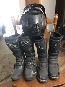 Motor Cross Boots And Helmet 403-502-2756
