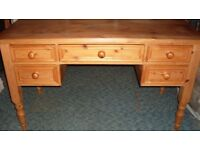 Solid Pine Desk with five very copious strong drawers