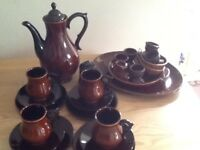 1970 s retro brown China coffe cups and saucers coffee pot