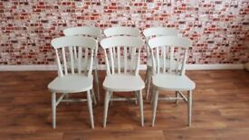 Six Farrow and Ball Mizzle Painted Farmhouse Slat Back Dining Chairs - Brand New