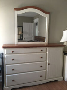 Beautiful all wood dresser & mirror