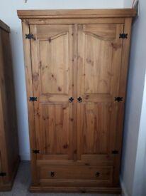 Pine wardrobe bedside cabinets x2