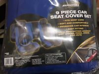 Brookstone 9 piece car seat cover set in black and blue