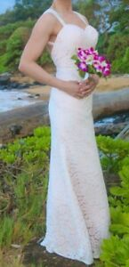 Destination Wedding Dress - long, simple, off white