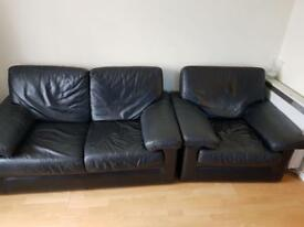 Black leather sofa and arm chair MUST GO