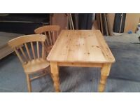 Farmhouse style pine table and 4 chairs