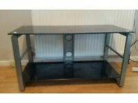 Black glass tv stand used