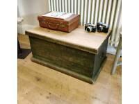 Original paint Victorian pine trunk, coffee table, toy storage, blanket box