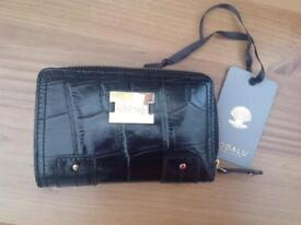 Modalu black crock effect leather purse