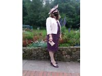 Brand new mother of the bride or formal purple lace dress and pale pink jacket