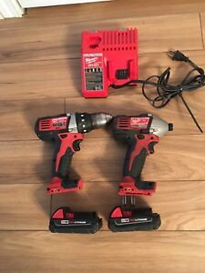 Milwaukee drill driver and impact driver set