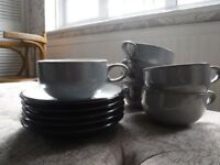 DENBY grey/black Jet large coffee/tea cups & saucers, RRP £130