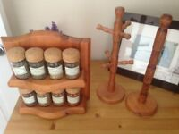 Wooden spice rack, mug tree and kitchen stand