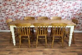 Rustic Farmhouse Reclaimed Pine Kitchen Dining Table Set - Range of Farrow and Ball Colours