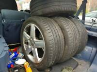 "17"" Audi alloy wheels with 3 excellent tyres"