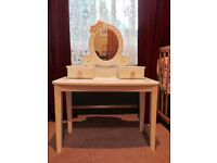 Child's white and pink wooden dressing table