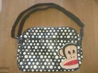 Paul Frank Black Polka Dot Pattern Shoulder Bag Complete With Key Ring Bag Charm Good Condition