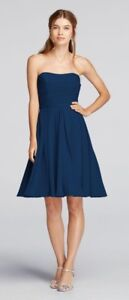 Short Strapless Bridesmaid Dress - Marine Colour