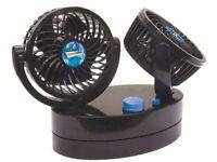 12V Cyclone II Twin Oscillating Compact 360° Air Fan Caravan Motorhome Camper (S