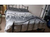 Double bed metal frame and mattress