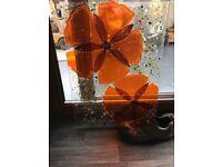 stunning fused glass wall hanging, poppy, handmade