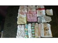 Big Bundle Of 3-6 Months Girls Clothes Baby Grows, Long & Short Sleeve Vests, T-SHIRT & Trousers