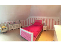 Childrens 3FT Single Pink White Diamond Princess Bed Kids Crystal Diamante - Great Condition