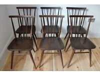 Set of 6 vintage retro 60's Ercol ercol windsor all purpose chairs (mdl 391)