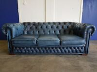 ANTIQUE BLUE LEATHER CHESTERFIELD 3 SEATER SOFA / SETTEE DELIVERY AVAILABLE