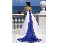 Royal Blue and White Wedding Dress