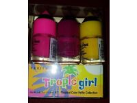 Nail varnish pink, purple & yellow 48 units