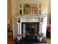 Fireplace with cast Iron inset & overmantle mirror PRICE REDUCED