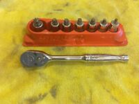 Snap on 3/8 stubby torx socket set with magnetic holder,plus 3/8 ratchet.Bargain at £120.00 for both