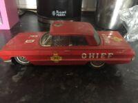 Vintage Tin Plate Fire Chiefs Car