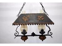 copper double chimney lamp
